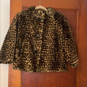 Via Spiga Faux Fur Cheetah Print Jacket xs